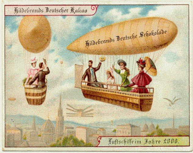 1900 advert for German chocolate company Theodor Hildebrand & Son, depicting life in 2000 (lightly edited).