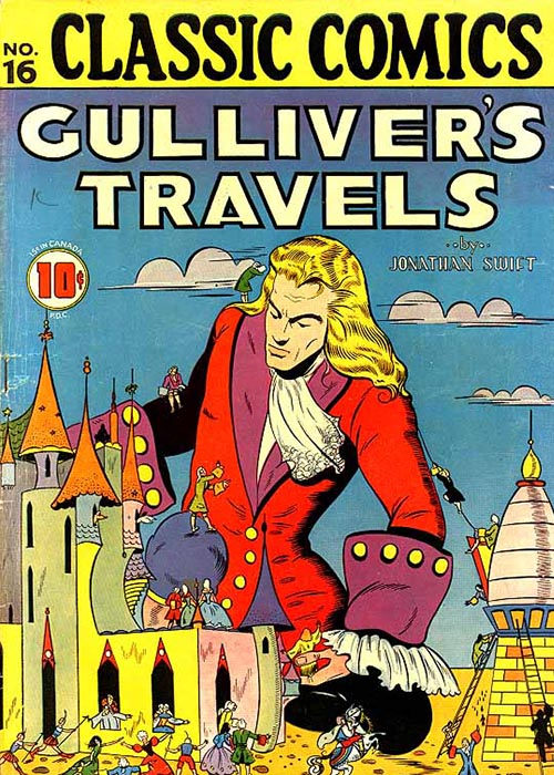Cover of a comic book adaptation of Gulliver's Travels