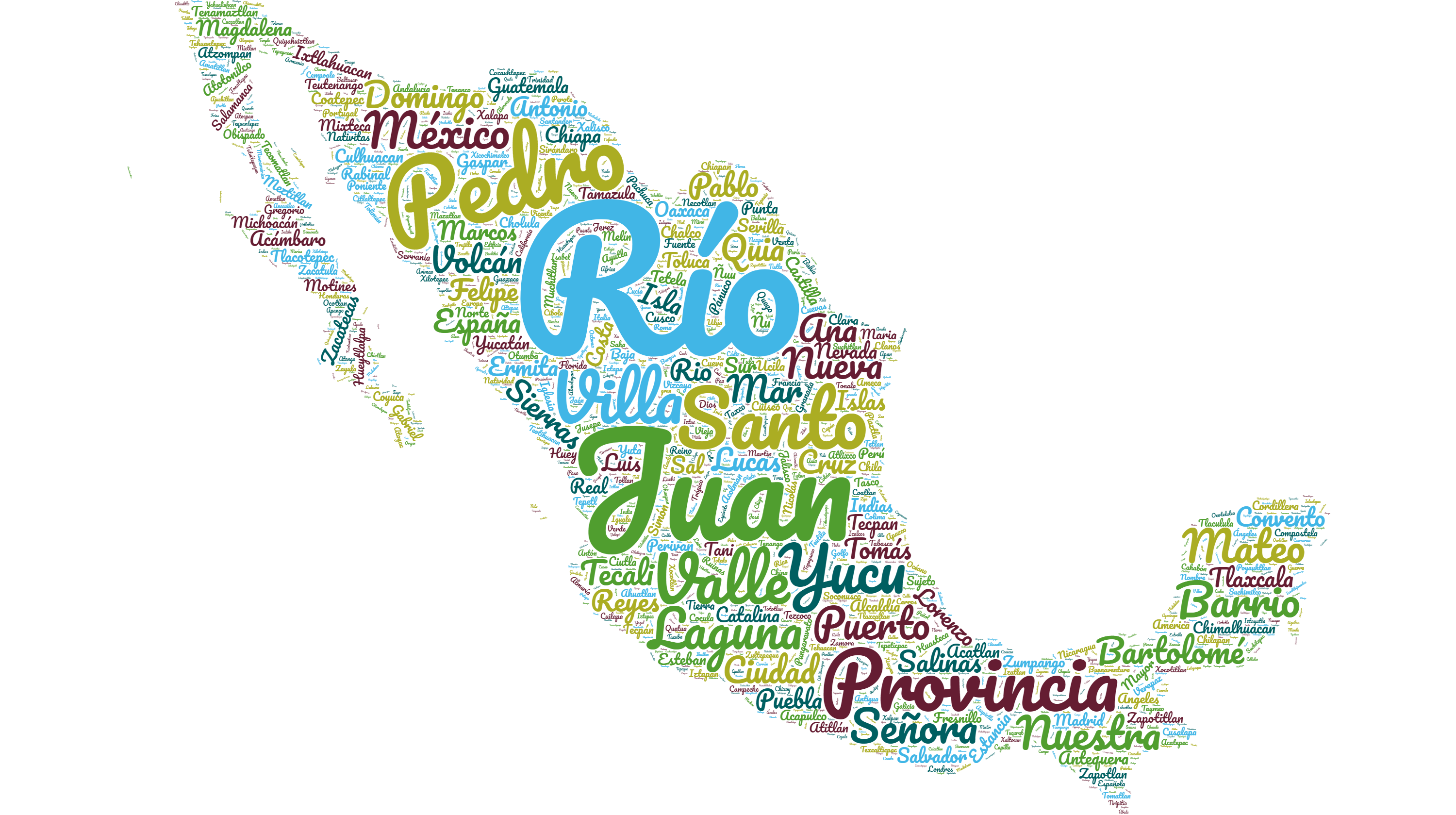 wordcloud comprised of toponyms mentioned in Rene Acuña's editions of the Relaciones Geograficas