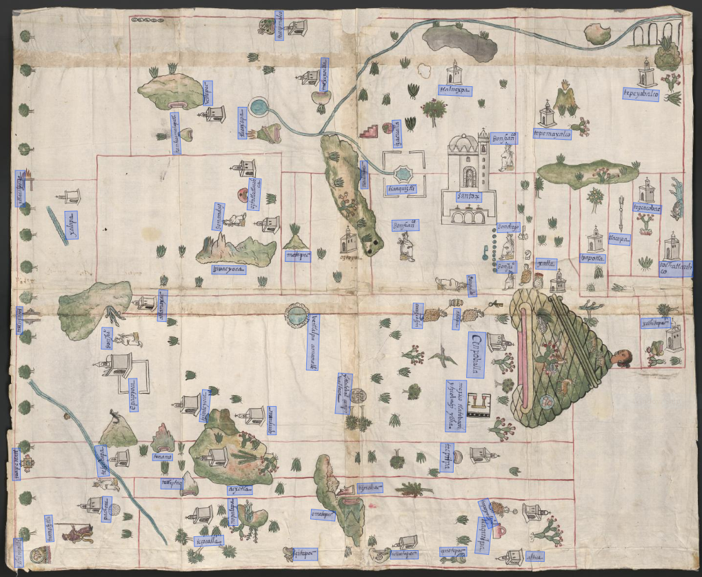 Sixteenth-century map of Cempoala featuring annotations created using Recogito