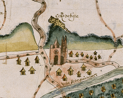 Excerpt of the map of Teguantepec showing a toponym glyph representation of the place name, cerro de tigre