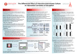 Poster thumbnail for 'The Differential Effect of Interview-Interviewee Culture on Nonverbal Correlates of Deception'