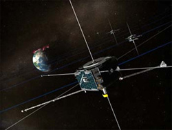 An artist's impression of the five THEMIS spacecraft orbiting the Earth (courtesy of NASA)