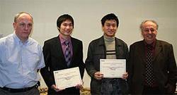 From left: Eric Jones of Nokia, Ke Sun, Liang Zhang and Prof Costas Xydeas