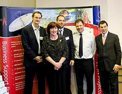 Dr Gerd Kortuem, Geraldine Smith MP, Prof Nigel Davies, the MD of In Touch John Walden, Nigel Griffiths MP