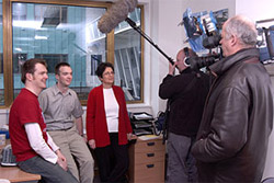 Farideh Honary and colleagues Dr Steve Marple, Dr Jim Wild with Channel 4 film crew in InfoLab21