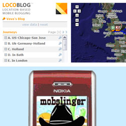 LocoBlog and Mobslinger were demonstrated at the conference
