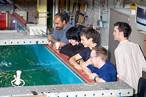 A wave tank experiment from last year's taster day
