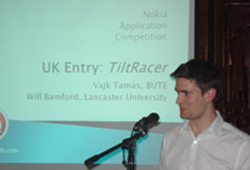 Will Bamford presenting Tiltracer at the Nokia final in Budapest.