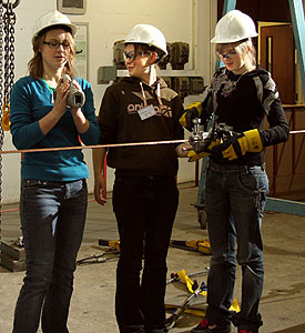 Girls from Sandbach High School, Cheshire, at work at Lancaster University Engineering Department