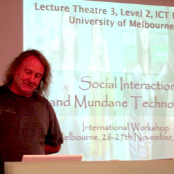Dr. Mark Rouncefield presenting his research in Melbourne