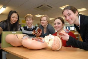 From left: student Cindy Chan, pupil Josh Macaulay, Dr Karen Grant, pupil Becky Dugdale and student Naomi Fleming
