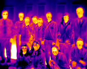 Thermal image of students from Wellfield Business and Enterprise College