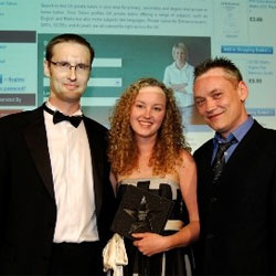 EduNation Ltd receiving the Best E-Business award. Photo from www.bigchipawards.com