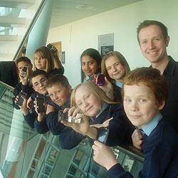 Newsround presenter Adam Fleming interviewed children at InfoLab21