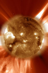 An ultraviolet image of a coronal mass ejection, blasting enormous bubbles of magnetic plasma into space (image: NASA)