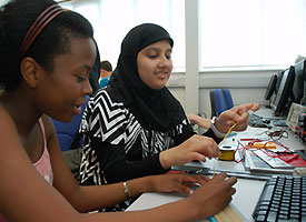 Students from Parswood High School at last years event, working on electronic systems in a workshop run by Engineering