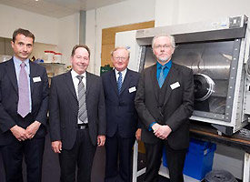 L - R Professor Malcolm Joyce, Head of Engineering, Michael Franklin, Director of The LRET, The LRET Trustee Mr Peter Chrismas and Professor Colin Boxhall, The LRET Chair in Nuclear Engineering and Decommissioning