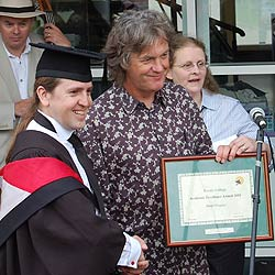 Paul Gragory with honorary Lancaster University graduate, Top Gear's James May