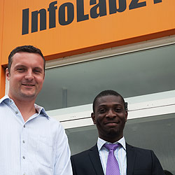 Ben Yates with InfoLab21 Project Associate Sanmi Gbadegesin