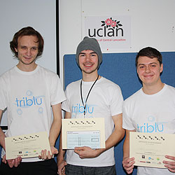 Jack Bulmer and Stuart Allardes from UCLan with Chris Winstanley from Lancaster University