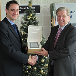 Grant Bodie of Mount Recruitment is presented with his new Kindle by Steve Riches, KBC Director