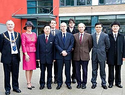 From left, Mayor and Mayoress of Lancaster, Councillor Tony Wade and Mrs Christine Wade; Mr Ni Jian, Consul-General; Professor Steve Bradley Pro-Vice-Chancellor International, Stephen Parkin, University International Office; Councillor Stuart Langhorn, Le