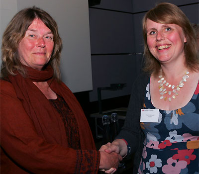 Cherry Canovan with Professor Amanda Cooper-Sarkar of Oxford University who presented her with the prize