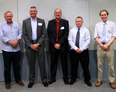 L-R: Peter Melchett, Miles Foulger, Phil Haygarth, Patrick Thompson, Joe Holden