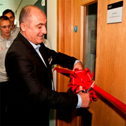 Dr Hayk Manukyan of Aeroflex UK opens the new laboratory