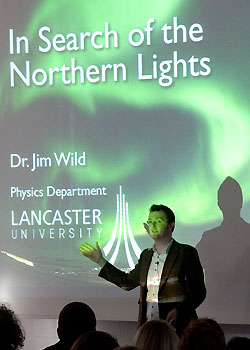 Dr Jim Wild talking to pupils about the Northern Lights