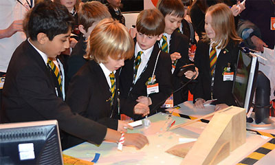 Pupils were amazed by Lancaster University's augmented reality racing game