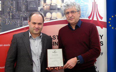 Dr Plamen Angelov and Prof. Garik Markarian with the award for International Collaboration