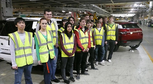 Engineering students at Land Rover's Halewood factory