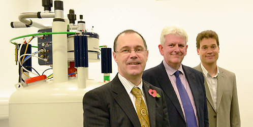 Vice-Chancellor of Lancaster University Professor Mark E. Smith (front left) with Head of Department Professor Peter Fielden (centre) and Professor David Middleton in the new Chemistry Department NMR Laboratory at Lancaster University