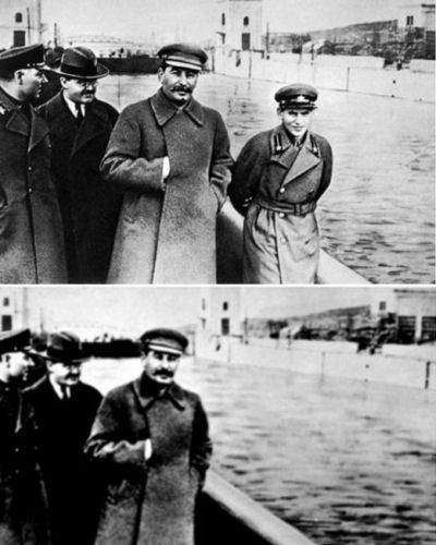 Now you see him, now you don?t. Stalin rewrites history. http://en.wikipedia.org/wiki/File:The_Commissar_Vanishes_2.jpg