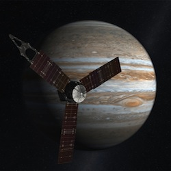 Juno is a NASA New Frontiers mission to the planet Jupiter. Juno was launched from Cape Canaveral Air Force Station on August 5, 2011 and will arrive in July 2016.