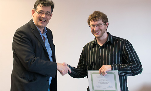 Dmytro Iatsenko was joint winner of the prize for Best PhD Student 2014