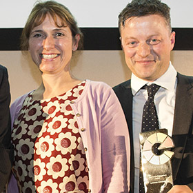 Lancaster University's Helen Fogg and Dion Williams with their Commercial Engagement Award. Copyright Don't Panic/Phil Tragen.