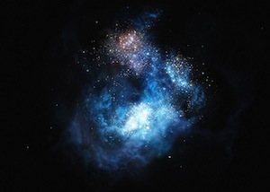 Astronomers using ESO's Very Large Telescope have discovered by far the brightest galaxy yet found in the early Universe and found strong evidence that examples of the first generation of stars lurk within it. These massive, brilliant, and previously purely theoretical objects were the creators of the first heavy elements in history — the elements necessary to forge the stars around us today, the planets that orbit them, and life as we know it. The newly found galaxy, labelled CR7, is three times brighter than the brightest distant galaxy known up to now.