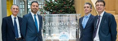 L-R: Professor Claudio Paoloni (Lancaster University); Professor Aamir Khalid (TWI); Dr Chris Dungey (TWI); Professor Stephen Decent (Lancaster University)