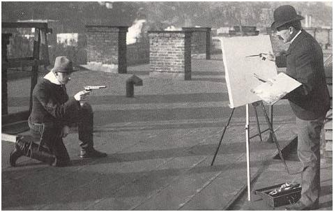 Unidentified photographer, Charles Schreyvogel Painting on the Roof of His Apartment Building: Hoboken New Jersey, 1903