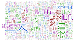 A word cloud showing relative frequency of words in the Lancaster Corpus of Mandarin Chinese