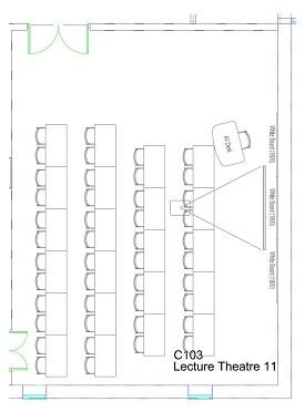 Floor plan of Management School Lecture Theatre 11