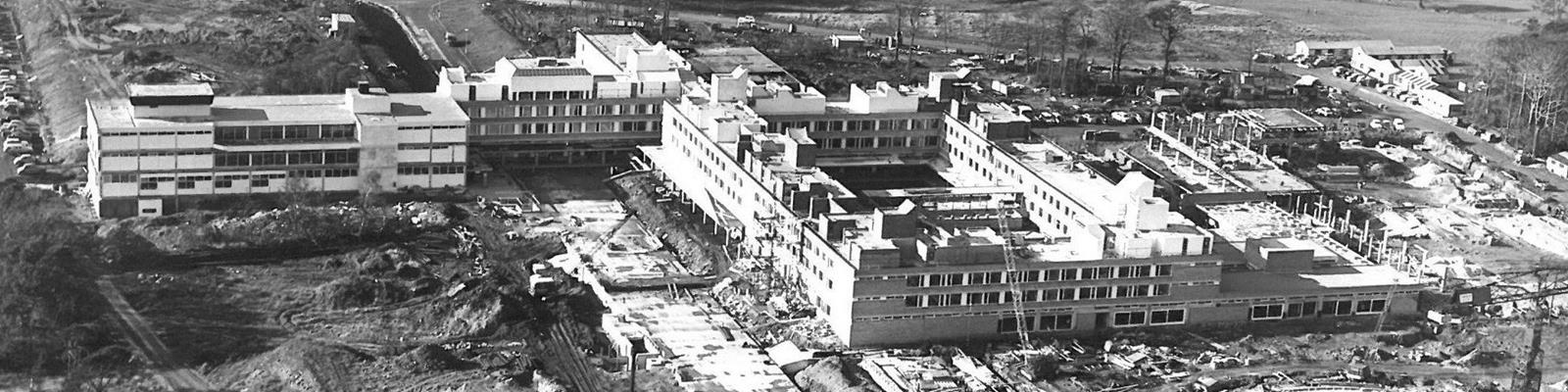 A black and white photograph of Lancaster University under construction