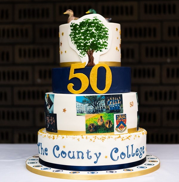 photo of the County College 50th Anniversary celebration cake