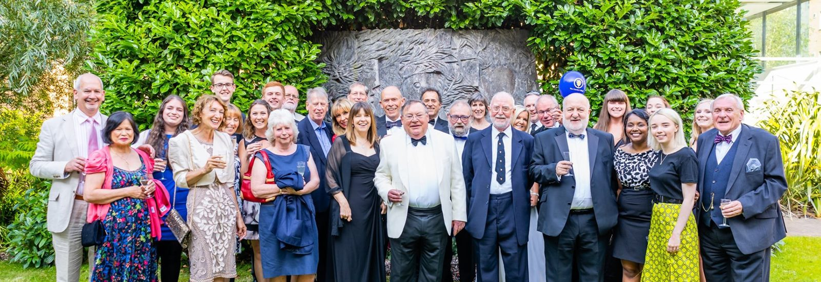 Alumni gathered outside at County College 50th anniversary