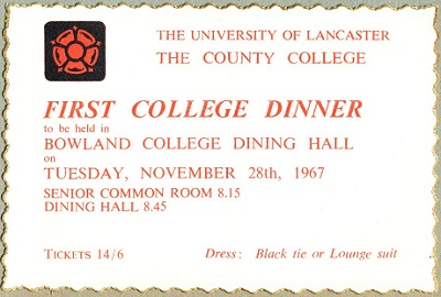Copy of very first County dinner invitation from 1967.