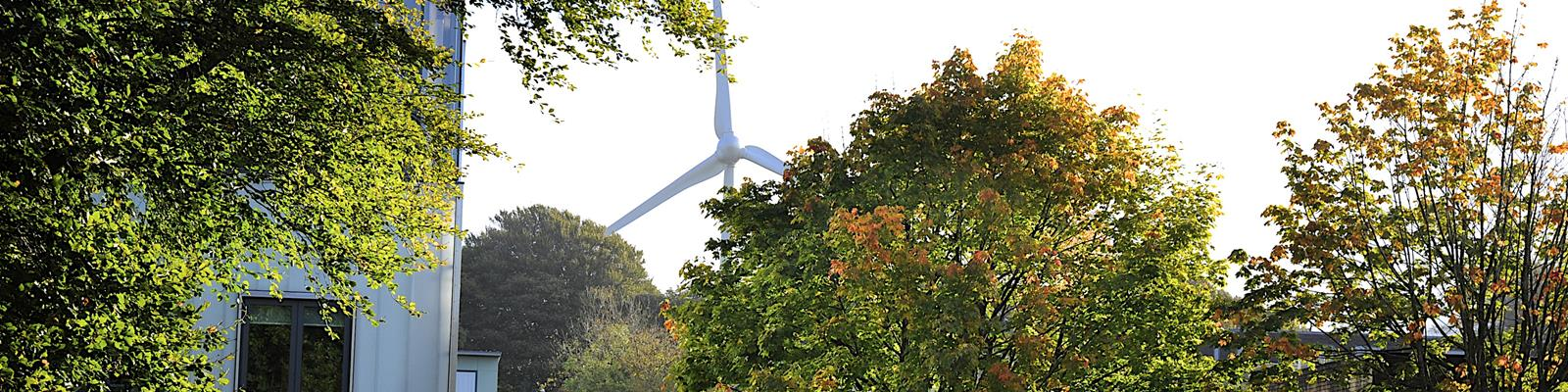 The Lancaster University wind turbine viewed through the trees on campus