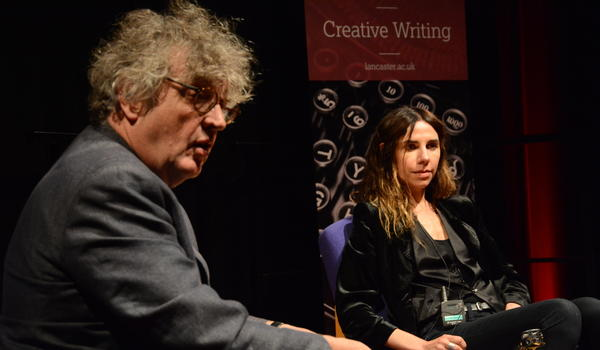 Professor Paul Muldoon with PJ Harvey at the 2017 Lancaster Words Festival